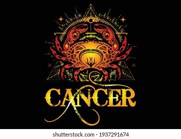 Cancer Zodiac Sign T shirt Design Vector Illustration