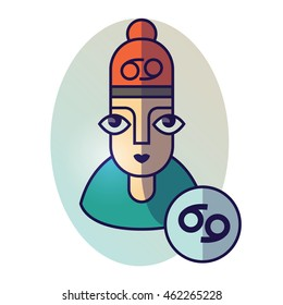 Cancer zodiac sign. Vector illustration of horoscope. Girl portrait in a Cancer character