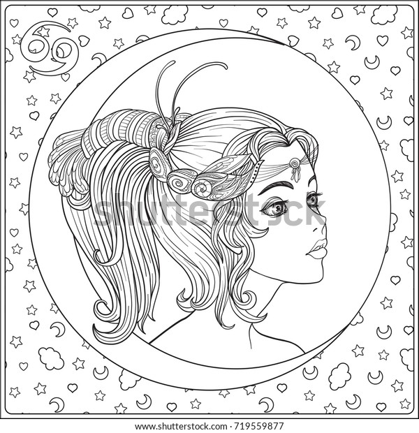 Cancer Zodiac Sign Young Beautiful Girl Stock Vector