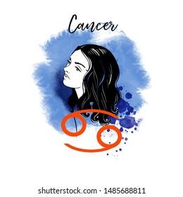 Cancer Zodiac signs girl illustration.Vector sketch.