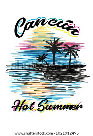 Cancun Hot Summertshirt Print Poster Vector Stock Vector Royalty