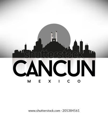 Cancun Mexico Black Skyline Design Vector Stock Vector Royalty Free