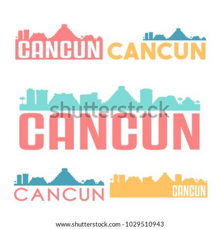Cancun Mexico Flat Icon Skyline Vector Stock Vector Royalty Free