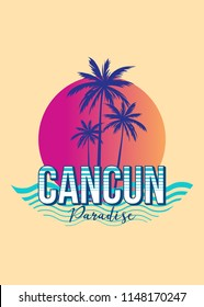 cancun mexico paradise colorful sunset retro vintage poster palm tree