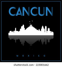 Cancun, Mexico, skyline silhouette vector design on parliament blue and black background.