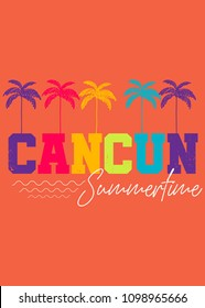 cancun mexico summertime beach palm tree colorful distress vacations apparel poster