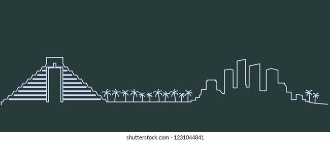 Cancun Single Line Skyline