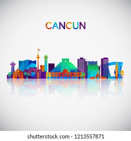 Cancun skyline silhouette in colorful geometric style. Symbol for your design. Vector illustration.