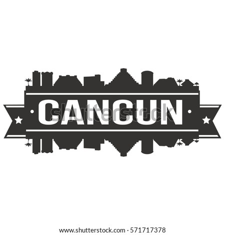Cancun Skyline Stamp Silhouette City Design Stock Vector Royalty
