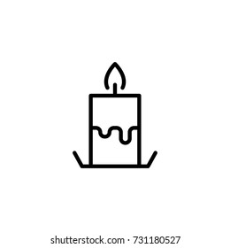 Candel flat icon. Single high quality outline symbol of funeral for web design or mobile app. Thin line signs of death for design logo, visit card, etc. Outline logo of life.