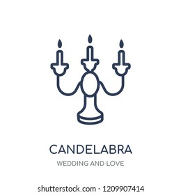 Candelabra icon. Candelabra linear symbol design from Wedding and love collection. Simple outline element vector illustration on white background.