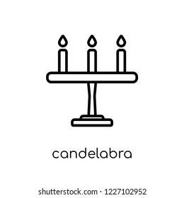 candelabra icon. Trendy modern flat linear vector candelabra icon on white background from thin line Wedding and love collection, outline vector illustration