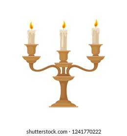 Candelabrum with three burning candles with melting wax, vintage bronze candlestick vector Illustration