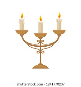 Candelabrum with three burning candles, vintage candlestick vector Illustration on a white background