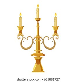 Candelabrum with three candles icon. Cartoon illustration of candle vector icon for web design