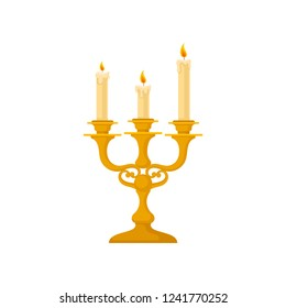 Candelabrum with three candles, vintage golden candlestick vector Illustration on a white background