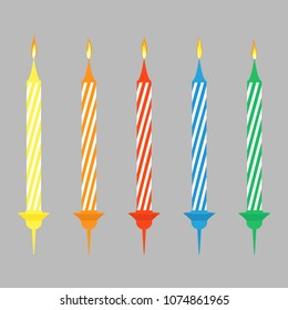 Candels for Birthday cake with burning flames of wax paraffin vector