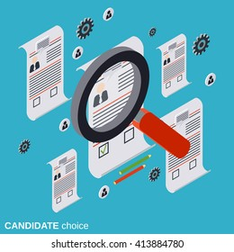 Candidate choice, resume analysis, recruitment, human resources management, staff research flat isometric vector concept