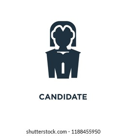 Candidate icon. Black filled vector illustration. Candidate symbol on white background. Can be used in web and mobile.