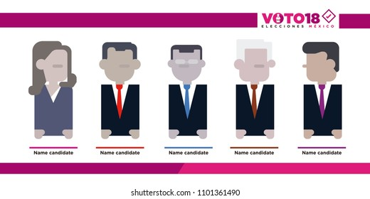 Candidate icons Mexico Elections 2018, elecciones Mexico 2018, spanish text