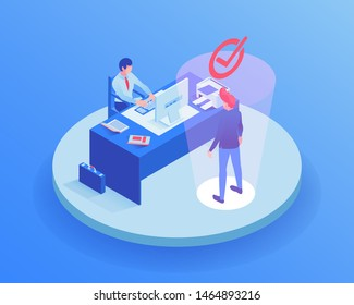 Candidate at job interview isometric illustration. HR agent character choosing employer, reading worker CV, resume, qualification. Employment service, modern headhunter office 3d clipart