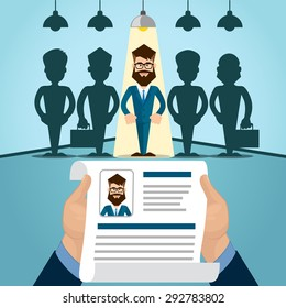 Candidate Job Position, Curriculum. Hands Hold CV Profile Choose from Group of Business People to Hire Interview Vector Illustration