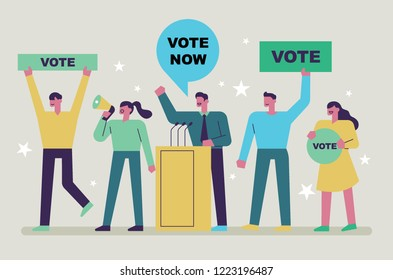 Candidate politicians who make an election speech and supporters who promote him. flat design style vector graphic illustration.