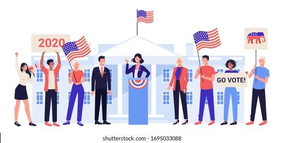 Candidate for president at the tribune. Political speech. Presidential election. Election speech concept. Career in politics. Isolated vector illustration in cartoon style