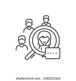 Candidate selection line icon concept. Candidate selection vector linear illustration, symbol, sign