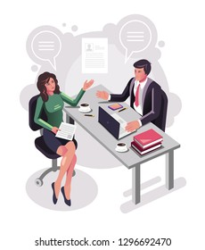 Candidate woman office worker character interviewing with boss sitting on table dest workplace. Recruitment head hunting human resources hr isometric concept. Vector flat cartoon graphic design