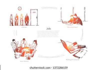 Candidates waiting for interview, business people discussing project, businessman working with laptop banner. Job search, recruitment agency concept sketch. Hand drawn vector illustration