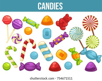 Candies and caramel sweets poster for confectionery or candy shop. Vector icons of marmalade bears, lollipops sugar suckers or hard candy sweetmeats and toffee comfits and candy canes assortment
