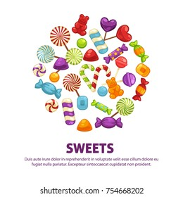 Candies and lollipop or caramel sweets and confectionery candy comfits poster. Vector hard candy heart and chocolate candy in wrapper, marmalade bears and sugar suckers for shop or birthday