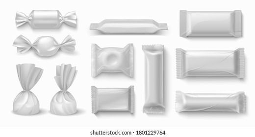 Candies package. Realistic sweet food packaging blank white mockups for branding design. Vector 3D image isolated caramel candies and chocolate bars plastic wrap