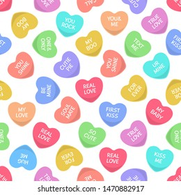 Candies seamless hearts pattern. Colorful candy, sweets heart for valentine day love writings, sweetheart message. Vector sticker pop teen wedding confetti texture