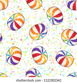 Candies seamless pattern. Vector background with hard sugar round candies on dotted background