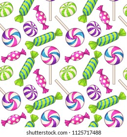 Candies seamless pattern. Vector background with various candies