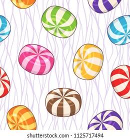Candies seamless pattern. Vector background with hard sugar round candies on wavy background
