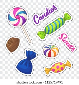 Candies stickers. Vector clip art with various candies and lettering
