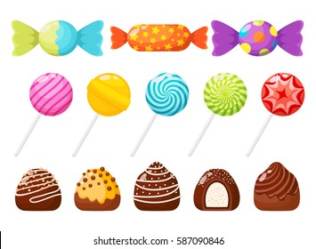 Candies, sweetmeats and assorted chocolates colorful lollipops. Sweets and candies icons set in modern flat style. Vector illustration
