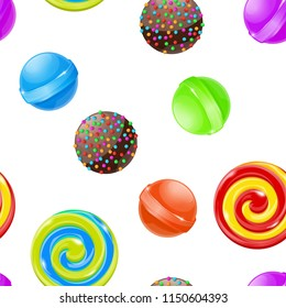 Candies and sweets. Seamless pattern. 3d colored collection. Vector illustration