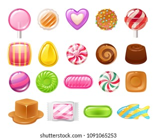 Candies sweets set on white background - hard candy, dragee, lollipop, toffee, jelly, peppermint candy, chocolate vector illustration