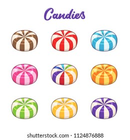 Candies. Vector set of colored hard sugar round candies