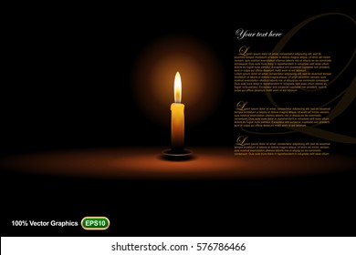 Candle ads template mock up, on dark background, template good for posters or magazine in 3d illustration
