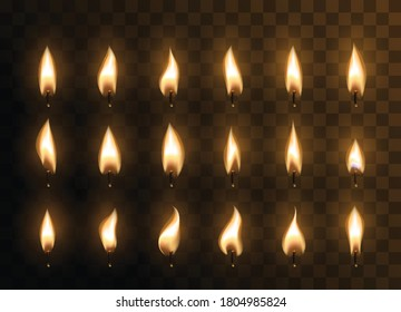 Candle animated flames with realistic flare texture isolated on transparent background. Set of 3d vector candle flames for sprite sheet animation