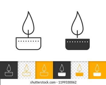 Candle black linear, silhouette icons. Thin line sign of church decoration. Memorial Fire outline pictogram isolated on white transparent backdrop. Light vector Icon shape. Flame simple symbol closeup