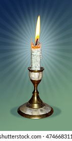 candle and candleholder in photorealistic style with background of gradient mesh