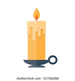 Candle in candlestick isolated illustration on white background
