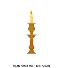Candle in a candlestick, vintage candle holder vector Illustration