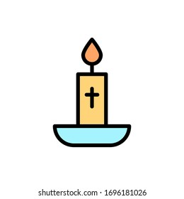 Candle cross outline color icon. Simple outline color vector elements of religious holiday for ui and ux, website or mobile application